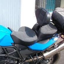 BMW F800GS: Dual with RCP Built-in Drivers Backrest, Sunbrella Slate inserts with Blue stitching