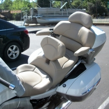 K1600GTLE Exclusive: Dual with RCP Drivers Backrest and all pieces recovered in Taupe Leather