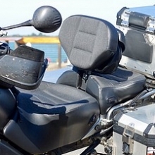 Dual Sunbrella insert saddle with rectangle pattern and RCP built-in driver backrest