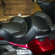 Dual all Black Leather with Halfmoon pattern.  Seat moved up and back 2""
