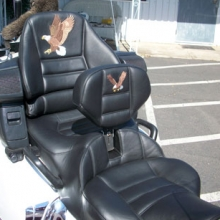 Honda 1800 Goldwing: Day-Long Solo | All Leather Rectangle Pattern with RCP Backrest | Eagle Embroidery