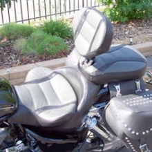 Honda VTX 1800: Solo Gray Leather Insert, Black Leather Sides with Stripes and RCP Backrest