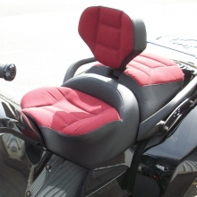 Solo with RCP Built-in Driver Backrest - Red Sunbrella Inserts, Black Vinyl Sides with Rectangle Pattern