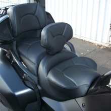 Solo all Black Leather, Halfmoon Pattern with Stock Driver Backrest, all pieces recovered to match.