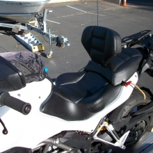 Ducati Multistrada Solo all Black Vinyl with Rectangle pattern and RCP Built-in Drivers Backrest