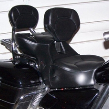 Triumph Rocket: Day-Long Dual Black Leather Halfmoon Pattern with RCP Backrest