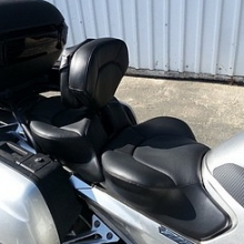 Dual all Black Leather with halfmoon pattern and RCP built-in driver backrest with pouch